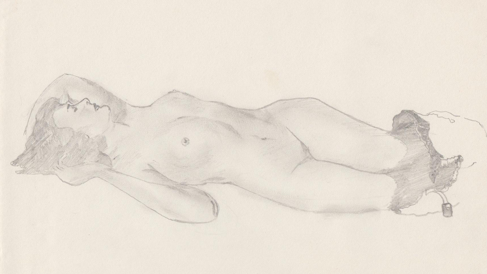 Asleep nude - Pencil sketch