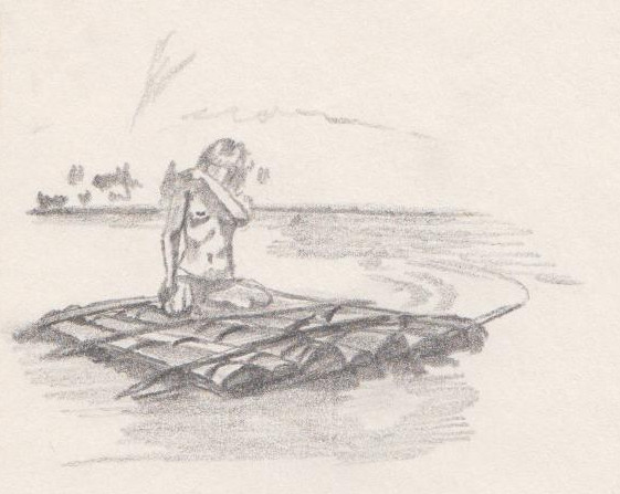 Girl on a Raft - Pencil sketch